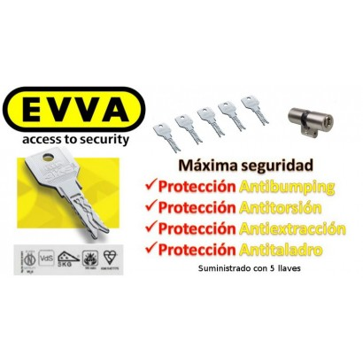 Bombín EVVA 3KS PLUS Alta Seguridad 5 Llaves  (Perfil Suizo para Ezcurra SEA 23)