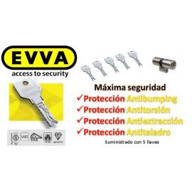 Kit Escudo Protector Disec LG280ARC + Bombín Antibmping EVVA 4KS Alta Seguridad 5 Llaves (Perfil Suizo para Ezcurra SEA 23)